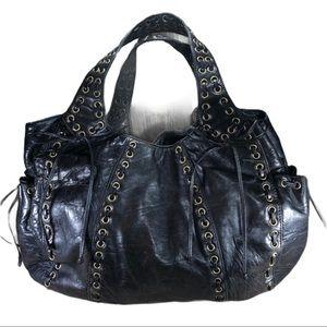 KOOBA Leather Black Marcelle Grommet Handbag